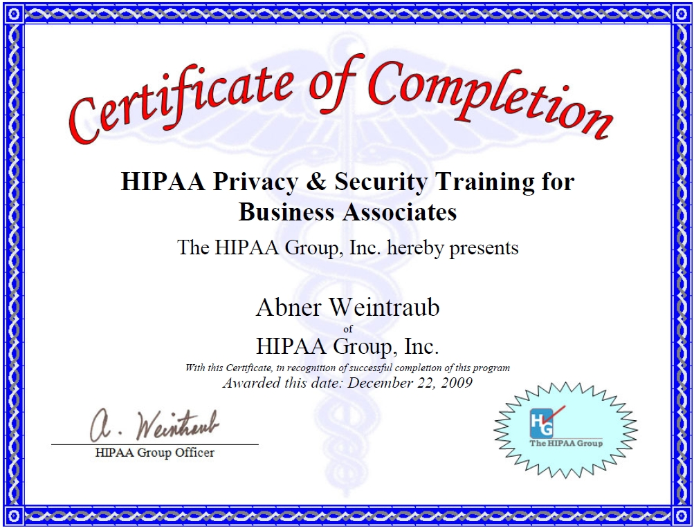 Hiipa certifications hipaa certification for Hipaa training certificate template